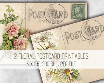 Digital Collage Sheet Download - Floral Postcards -  1017  - Digital Paper - Instant Download Printables