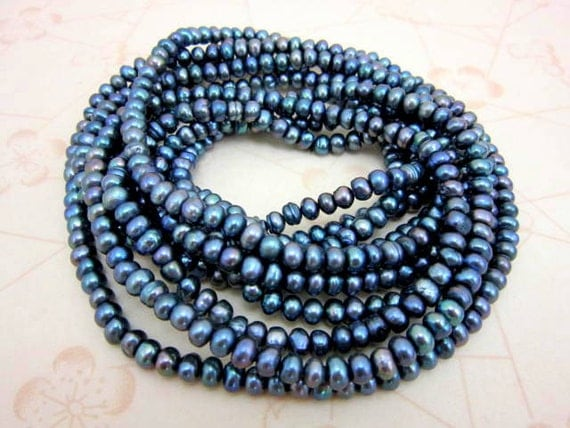 CLEARANCE SALE 100 inches (over 8 feet) of genuine peacock pearls necklace - super long pearl fashion necklace - opera pearls