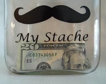 My Stache Glass Jar, savings jar, Birthday Gift, Groom's Gift, Vacation Fund, Home & Living, My Stache Jar,  Humor, Mens Gift, Christmas