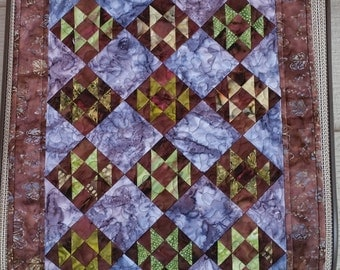 """Wall Hanging - """"Firefly"""" - purple and green batik wall quilt"""