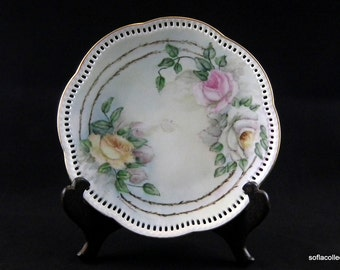 Schumann Porcelain Reticulated Edge Decorative Plate - Hand Painted Rose Pattern with Gold Trim - Vintage 1910s 1920s China