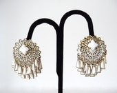 White Gold Tone Earrings Dangle Clip On Vintage