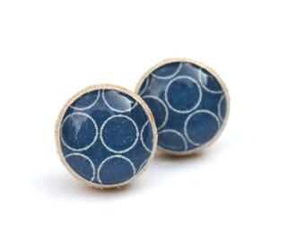 Navy Blue wood stud earrings. Navy Blue Studs gift for women Navy Blue Post Earrings Circle Earrings. Navy Blue Earrings. Hypoallergenic