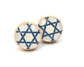 Navy blue and white geometric post earrings geometric studs white studs eco friendly jewelry, wood earrings, minimalist jewelry
