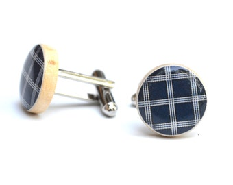 Navy blue plaid cuff links, gift for men 5th anniversary gift wood cufflinks, navy blue cufflinks, mens accessories, by starlight woods