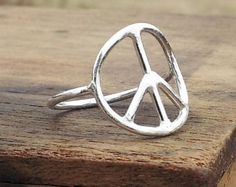Peace Ring Peace Sign Statement Ring Fine Silver