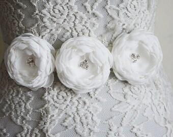 White Bridal Belt Sash, Wedding Rhinestone Flower Belt, Crystal, Gown Dress Sash, Bridesmaid Belt Flower, Ivory Chiffon Sash