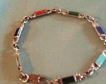 Vintage Multicolor StonesSterling Silver  Link Bracelet Southwsest