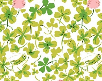Heather Ross Briar Rose for Windham Fabrics - Cricket Clover Pink - 1/2 yard cotton quilt fabric 516