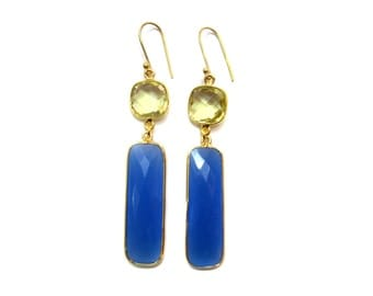 24kt. Gold Plated Bezel Earring pair , Chekker Cut Faceted Lemon Quartz and Blue Chalcedony Gemstone Jewellery Beautiful valentine day Gift