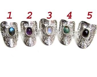 925 Sterling Silver Handmade Celtic ring band studded Natural Birthstone Cabochon gemstones hand made filigiri designer ring christmas gift
