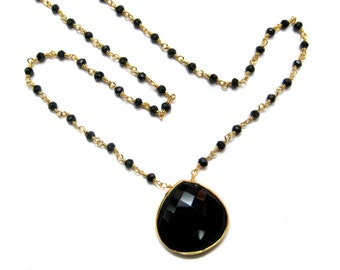 "24kt. Gold Plated Wire Wrapped Black Onyx Faceted Stone Beaded chain Necklace bezel pendant 18"" beads chain+ 2"" extension beautiful jewelry"
