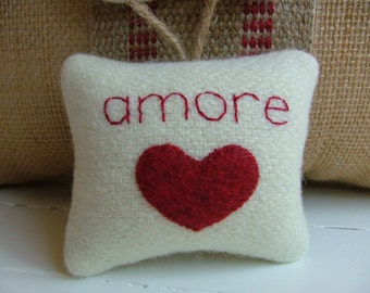 "Red and White Valentine's Day Decoration ""amore"" with Red Heart and Twine, Pendleton wool"