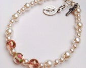 First Communion Bracelet Sterling Silver White Glass Pearl