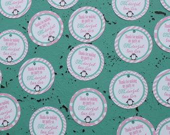 PENGUIN ONEDERLAND Birthday or Baby Shower Baby Shower or Birthday Favor Tags or Stickers 12 One Dozen Pink Aqua