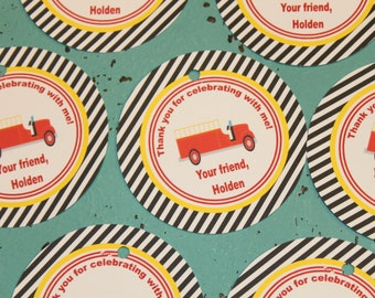 VINTAGE FIRETRUCK Happy Birthday Party or Baby Shower Favor Tags One Dozen (12) Red Black Yellow - Party Packs Available