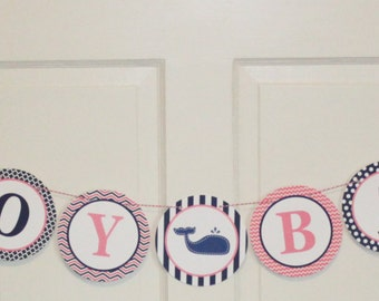 "LITTLE WHALE Happy Birthday or Baby Shower Banner ""Ahoy Baby"" Pink Navy - Party Packs Available"