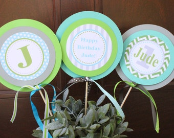 PREPPY MONOGRAM Happy Birthday or Baby Shower Centerpiece Sticks {Set of 3} - Party Packs Available