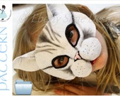 Cat mask PATTERN.  One size fits most.  INSTANT DOWNLOAD. - EbonyShae