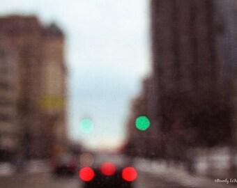 city, lights, bokeh, blur, fine art photography