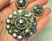 Rainbow Rhinestone Brooch and Earrings Matching Set Demi Parure