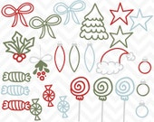 90% OFF SALE Clipart Christmas Doodles Commercial Use Vector Clip Art -
