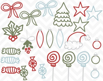 Clipart Christmas Doodles Commercial Use Vector Clip Art -