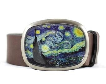 Starry Night belt buckle, Van Gogh Belt Buckle, Wearable Art Belt Buckle