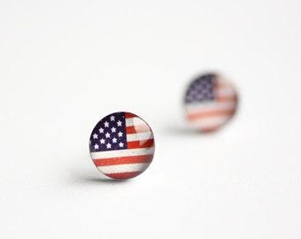 American flag ear studs, Surgical steel posts, USA Flag earring studs, mens earrings