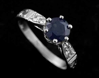 Art Deco Engraved Engagement Ring, 6mm Round Blue Sapphire Ring, Prong Set Diamond Engagement Ring, Carved Vintage Style 14K White Gold Ring