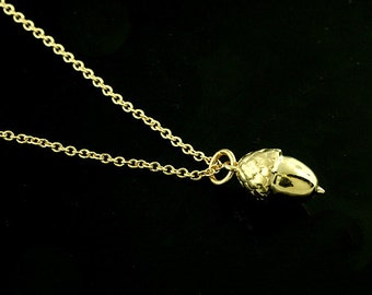 Gold Acorn Necklace, Acorn Charm Pendant Necklace, Solid Gold Petite Acorn, Dainty Necklace Cable Chain With Lobster Clasp