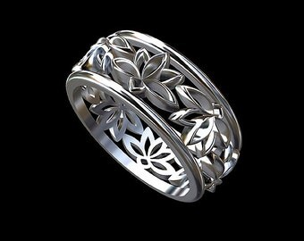 lotus flower wedding ring eternity lotus band eternity lotus flower ring unisex lotus wedding ring whiet gold 14k wide lotus ring 77mm - Lotus Wedding Ring