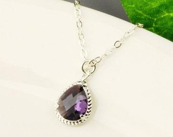 Amethyst Necklace - Bridesmaid Necklace Silver - Purple Necklace - Bridal Jewelry - Bridesmaid Jewelry - Wedding Jewelry - Bridal Necklace