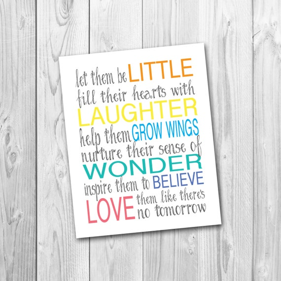 Welcome Quotes For Teachers Day: Printable Playroom Art Let Them Be Little Children's
