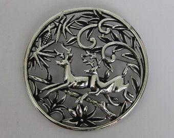 Vintage Silver Tone Large Brooch/Pendant Deer
