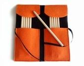 Felt pencil holder orange and black with rhinestone