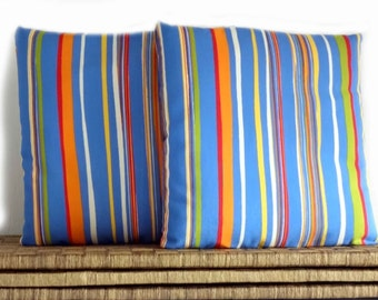 Multicolor striped pillow covers 16x16 inches, decorative pillows, kitchen cushion