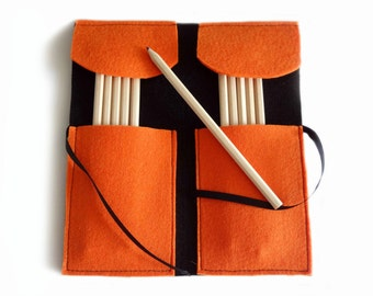 Felt pencil holder orange and black with rhinestone