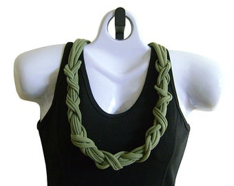 FABRIC NECKLACE, Sage Green, Recycled Tshirt Fabric, Olive Green, Tshirt Scarf. Ready to Ship. (See Pic #5 for Optional Styling)