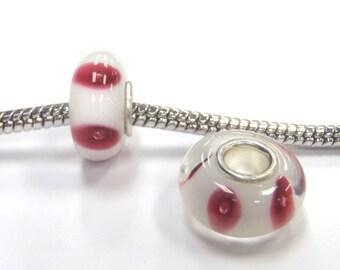 3 Beads - Pink Dots Lampwork Glass Brass Core Silver European Bead Charm E1000