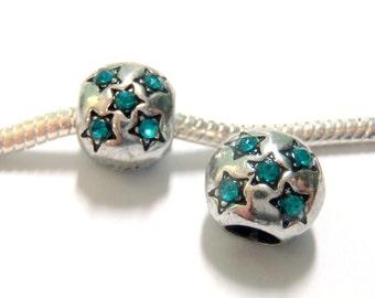 3 Beads - Blue Rhinestone Star Silver European Charm Bead E1235