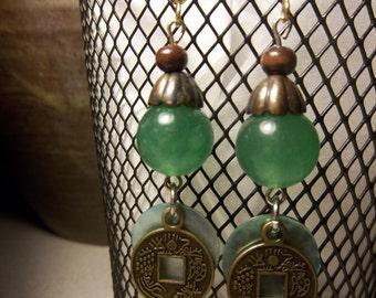 Jade and shell Asian-inspired dangling earrings