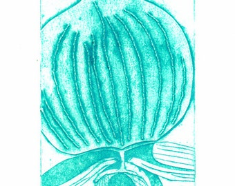 50% DISCOUNT SALE - now 6 GBP - Blue Orchid Collograph Hand Pulled Original Print