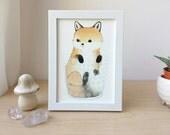 Art Print - Fox in a Tumbler - 5x7in Fox Illustration