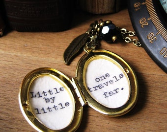 Inspirational quote locket necklace with message little by little one travels far tolkien quote womens necklace jewelry