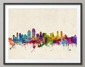 San Diego Skyline, San Diego California Cityscape Art Print (738)