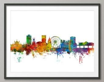 Brighton Skyline, Brighton England Cityscape Art Print (1019)