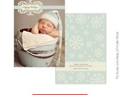 INSTANT DOWNLOAD - Holiday Card Photoshop Template - Snowflakes - E128