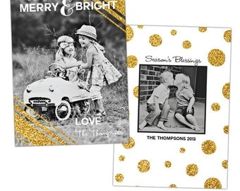 INSTANT DOWNLOAD - Christmas Holiday Card Photoshop template - e918