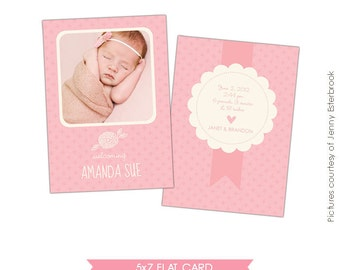 INSTANT DOWNLOAD - Birth announcement template- E456